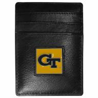 Georgia Tech Yellow Jackets Leather Money Clip/Cardholder in Gift Box