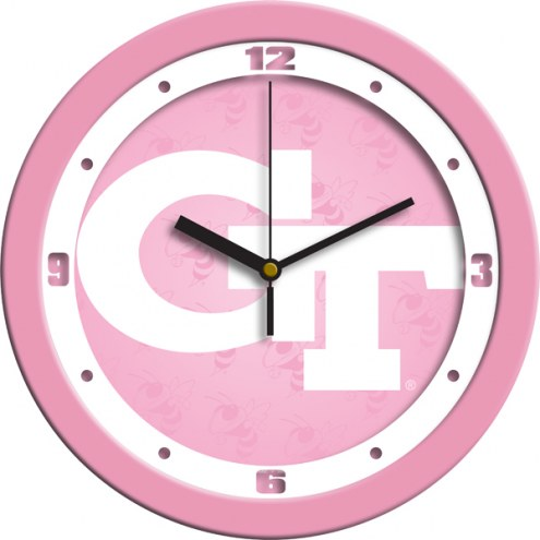 Georgia Tech Yellow Jackets Pink Wall Clock