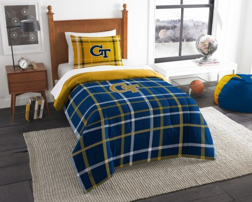 Georgia Tech Yellow Jackets Plaid Twin Comforter Set