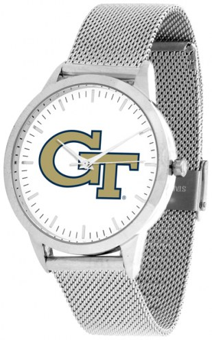 Georgia Tech Yellow Jackets Silver Mesh Statement Watch