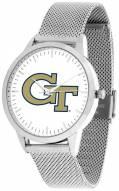 Georgia Tech Yellow Jackets Silver Mesh Statement Watch
