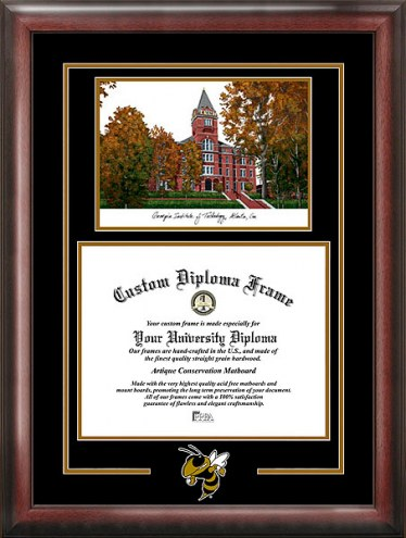 Georgia Tech Yellow Jackets Spirit Diploma Frame with Campus Image