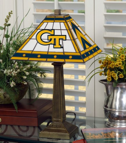 Georgia Tech Yellow Jackets Stained Glass Mission Table Lamp