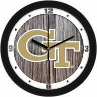 Georgia Tech Yellow Jackets Weathered Wood Wall Clock