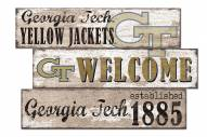 Georgia Tech Yellow Jackets Welcome 3 Plank Sign