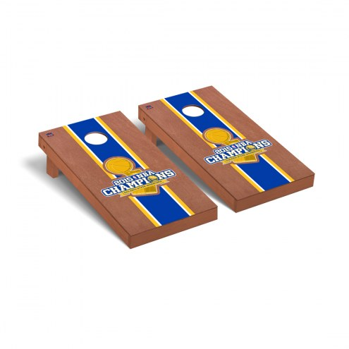 Golden State Warriors 2015 NBA Champions Rosewood Stained Cornhole Game Set