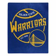 Golden State Warriors Blacktop Raschel Throw Blanket