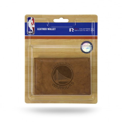 Golden State Warriors Brown Leather Trifold Wallet