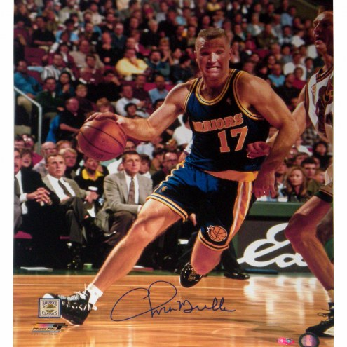 """Golden State Warriors Chris Mullin Drive to Basket Right Handed Signed 16"""" x 20"""" Photo"""