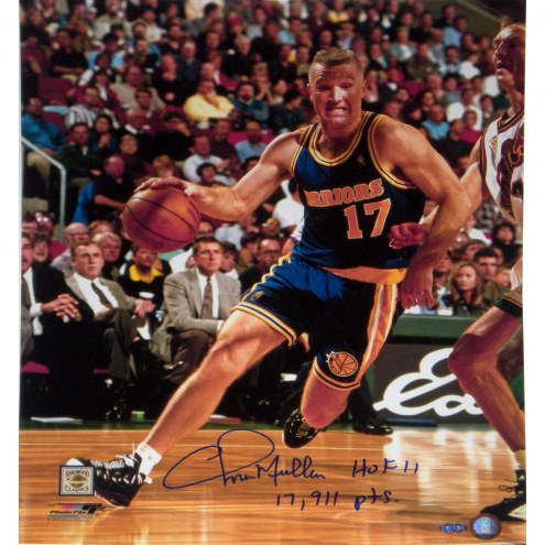 """Golden State Warriors Chris Mullin Drive to Basket w/ HOF 11 17911 Pts. Signed 16"""" x 20"""" Photo"""