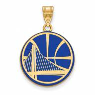 Golden State Warriors Sterling Silver Gold Plated Large Enameled Pendant