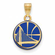 Golden State Warriors Sterling Silver Gold Plated Small Enameled Pendant