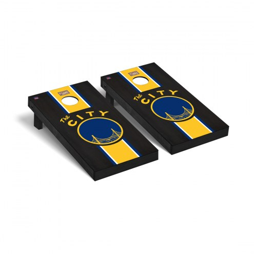 Golden State Warriors Hardwood Classic Onyx Stained Cornhole Game Set