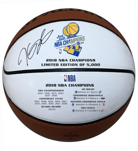 Golden State Warriors Kevin Durant Signed 2018 White Panel Championship Basketball