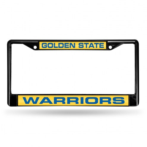 Golden State Warriors Laser Black License Plate Frame