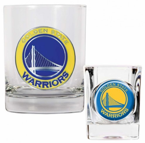 Golden State Warriors NBA 14 Oz Rocks Glass & Square Shot Glass 2-Piece Set