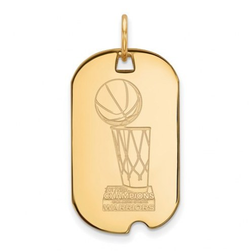 Golden State Warriors NBA Sterling Silver Gold Plated Small Dog Tag