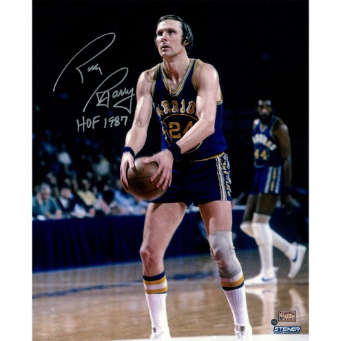 "Golden State Warriors Rick Barry Free Throw w/ ""HOF"" Signed 16"" x 20"" Photo"