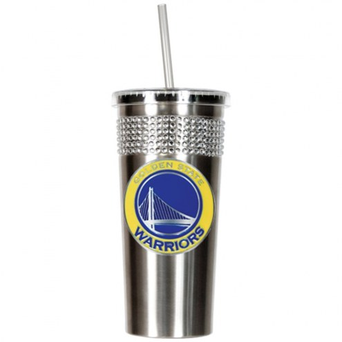 Golden State Warriors Stainless Steel Bling Tumbler with Straw
