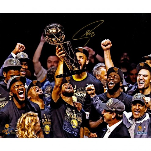 Golden State Warriors Stephen Curry Signed '2018 NBA Finals Champion Holding Trophy' 20 x 24 Photo