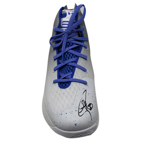 Golden State Warriors Stephen Curry Signed Grey/Blue Game Model Under Armour Curry 3 Shoe