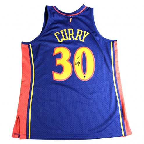 Golden State Warriors Stephen Curry Signed Mitchell and Ness Navy 2009-10 Rookie Season Swingman Replica Jersey