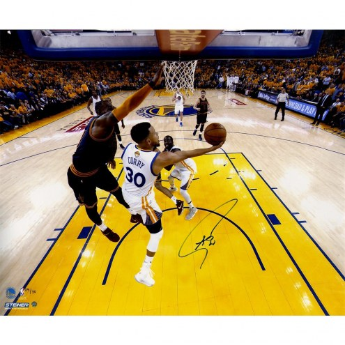 Golden State Warriors Stephen Curry Signed 'NBA Finals Layup Against LeBron' 20 x 24 Metallic Photo