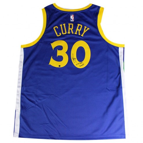 "Golden State Warriors Stephen Curry Signed Nike Blue Swingman Jersey w/ ""17-18 B2B Champs"""