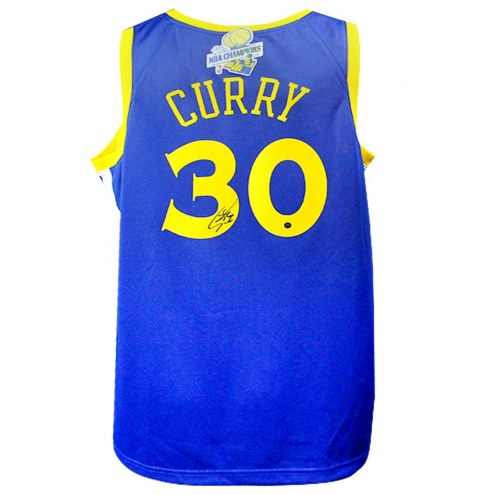 Golden State Warriors Stephen Curry Signed Nike Blue Swingman Jersey with 2017-18 Back To Back Champions Patch