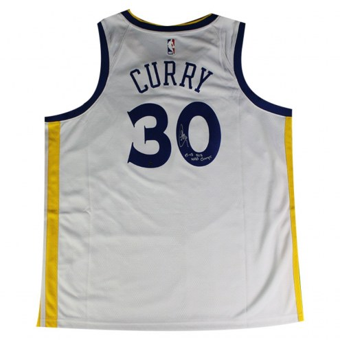 """Golden State Warriors Stephen Curry Signed Nike White Swingman Jersey w/ """"17-18 B2B Champs"""""""