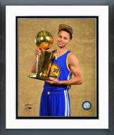 Golden State Warriors Stephen Curry with the NBA Championship Trophy Framed Photo