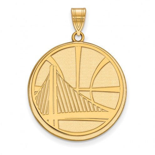 Golden State Warriors Sterling Silver Gold Plated Extra Large Pendant