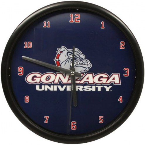 Gonzaga Bulldogs Black Rim Clock