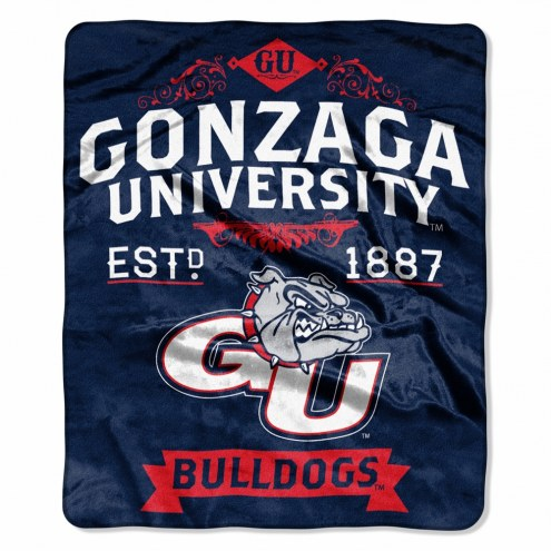 Gonzaga Bulldogs Label Raschel Throw Blanket