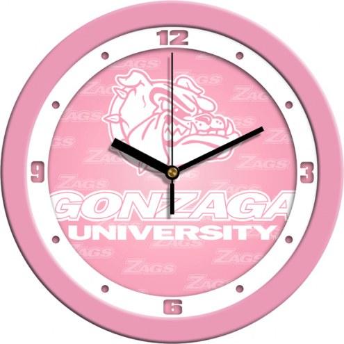 Gonzaga Bulldogs Pink Wall Clock