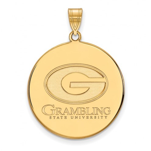 Grambling State Tigers Sterling Silver Gold Plated Extra Large Disc Pendant