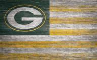 """Green Bay Packers 11"""" x 19"""" Distressed Flag Sign"""