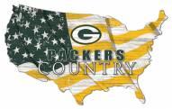 "Green Bay Packers 15"" USA Flag Cutout Sign"