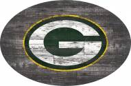 """Green Bay Packers 46"""" Distressed Wood Oval Sign"""