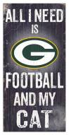 """Green Bay Packers 6"""" x 12"""" Football & My Cat Sign"""