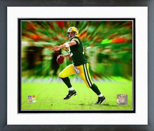 Green Bay Packers Aaron Rodgers Motion Blast Framed Photo