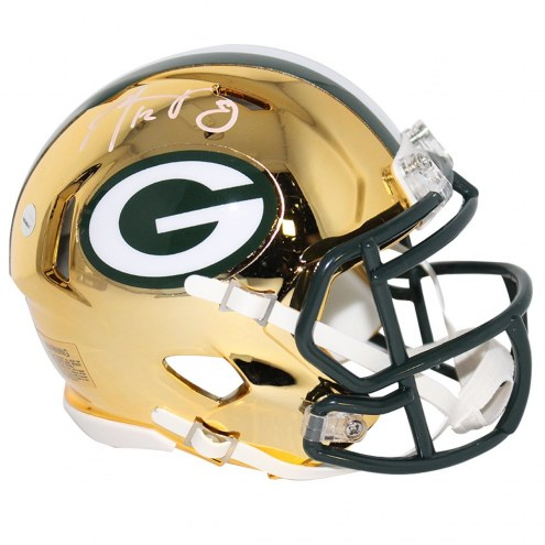 Green Bay Packers Aaron Rodgers Signed Riddell Mini Chrome helmet