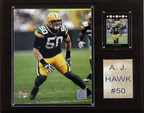"""Green Bay Packers A.J. Hawk 12 x 15"""" Player Plaque"""