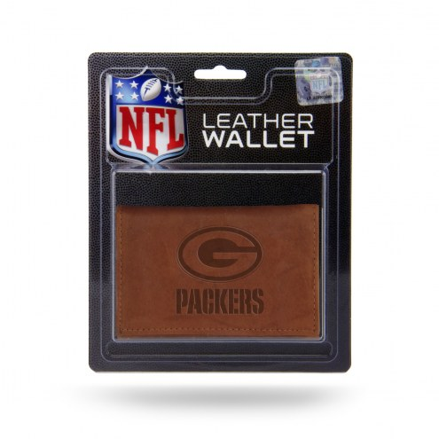 Green Bay Packers Brown Leather Trifold Wallet