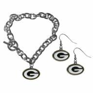 Green Bay Packers Chain Bracelet & Dangle Earring Set