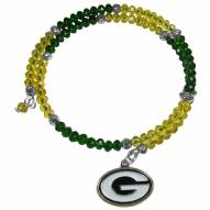 Green Bay Packers Crystal Memory Wire Bracelet