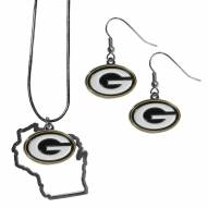 Green Bay Packers Dangle Earrings & State Necklace Set