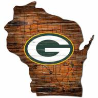 Green Bay Packers Distressed State with Logo Sign