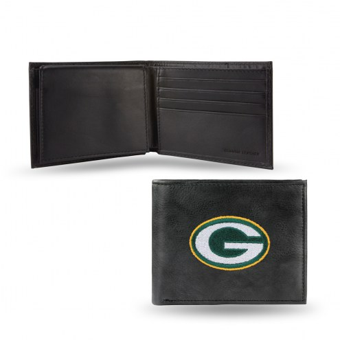 Green Bay Packers Embroidered Leather Billfold Wallet