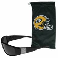 Green Bay Packers Etched Chrome Wrap Sunglasses & Bag